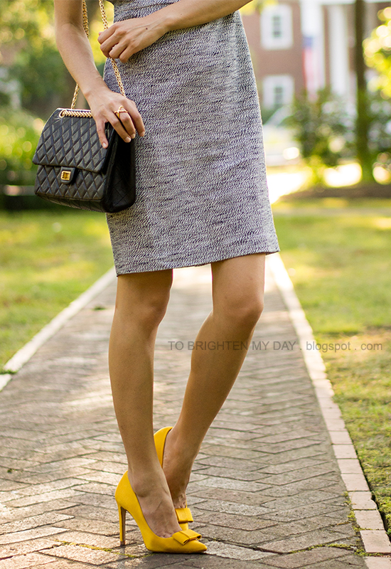 jeweled tweed dress, yellow bow pumps