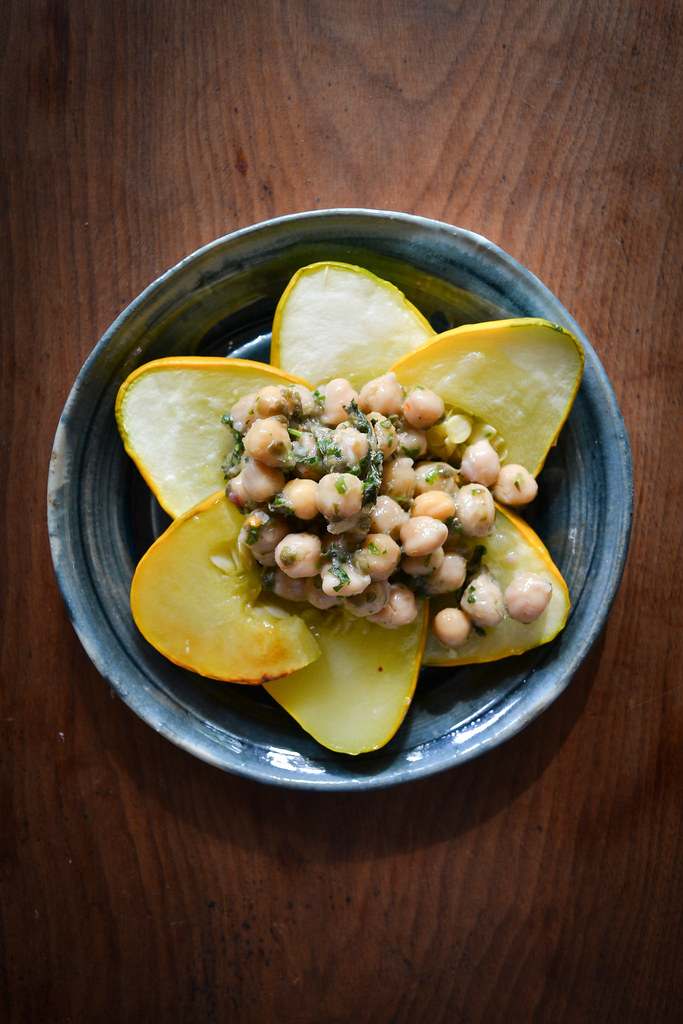 warm patty pan squash and chickpea salad | things i made today