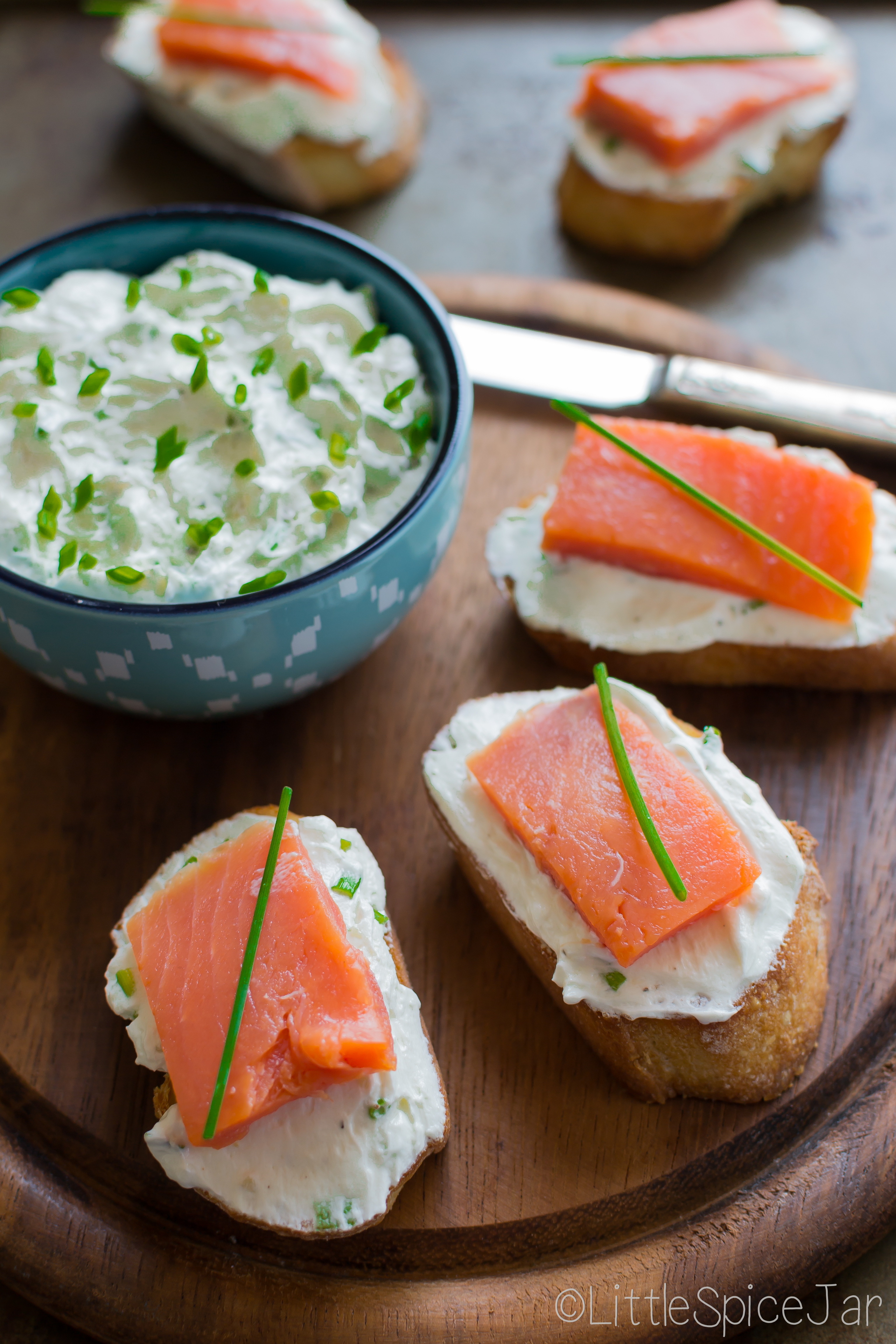 Smoked Salmon Whipped Goat Cheese Bruschetta
