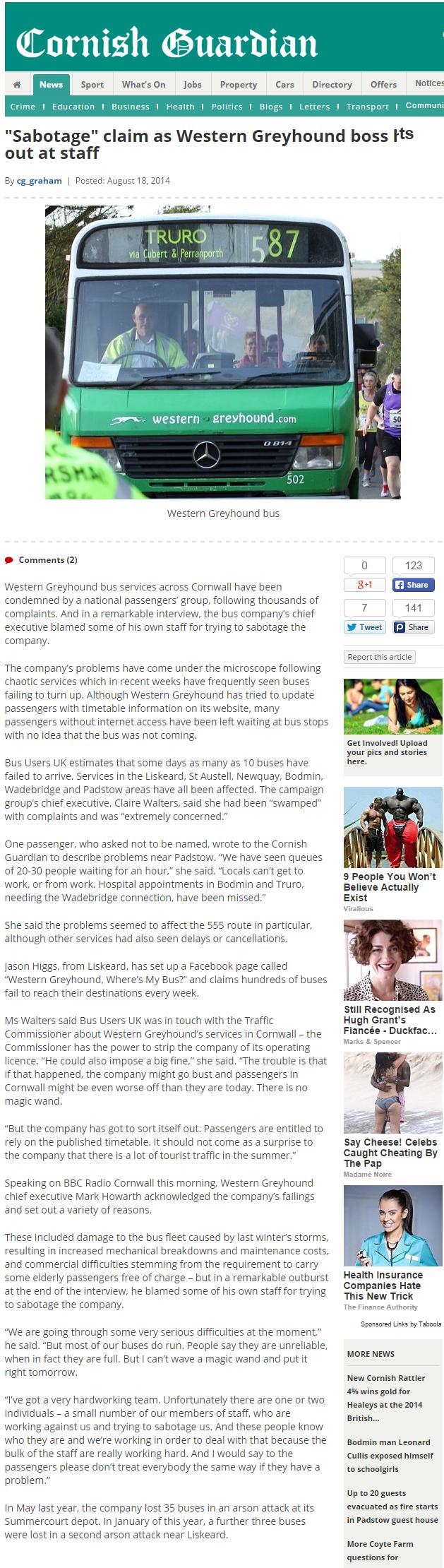 Sabotage  claim as Western Greyhound boss hits out at staff   Cornish Guardian