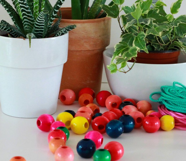 how to make a diy beaded plant hanger tutorial via Kristina J blog