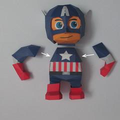 วิธีทำของเล่นโมเดลกระดาษกับตันอเมริกา (Chibi Captain America Papercraft Model) 028