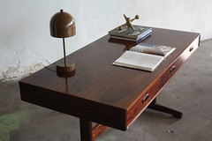 ***ON DECK*** Two Scandalous Danish Midcentury Danish Modern Rosewood Trestle Base Campaign Desks (Denmark, 1960s)