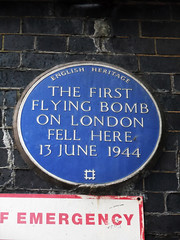 Photo of flying bomb (V1/V2) blue plaque