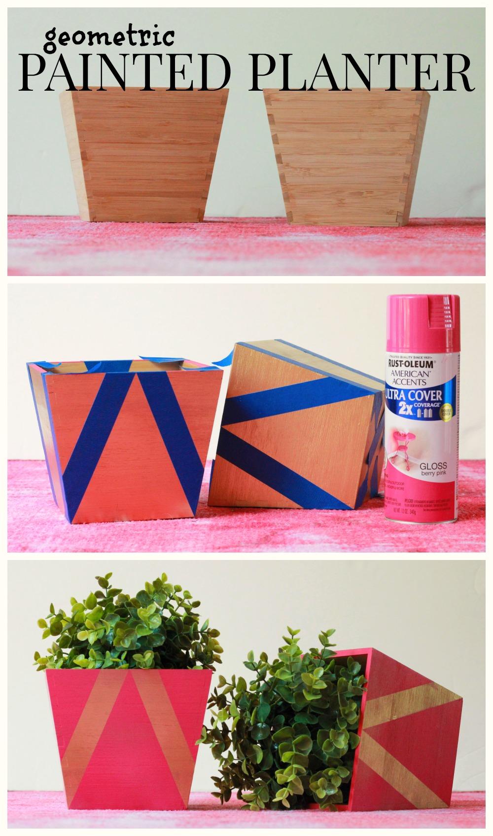 how to make a geometric painted planter via Kristina J blog