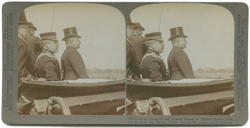 President Roosevelt and General Sumner at Military Review, Fort Sam Houston, San Antonio, Texas.