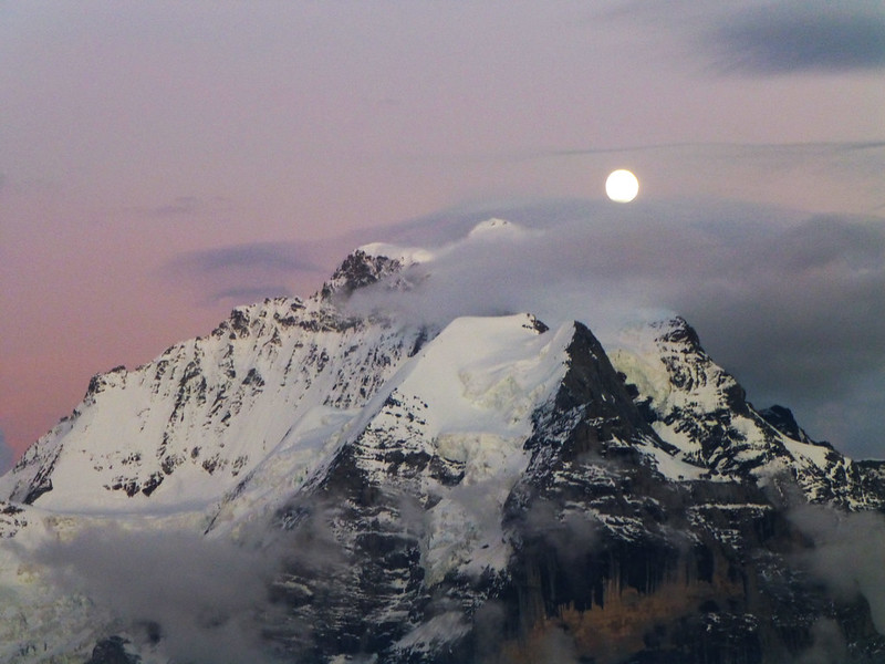 Pink sky with the moon