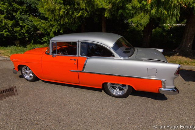 Orange and Silver 1955 Chevy (side)