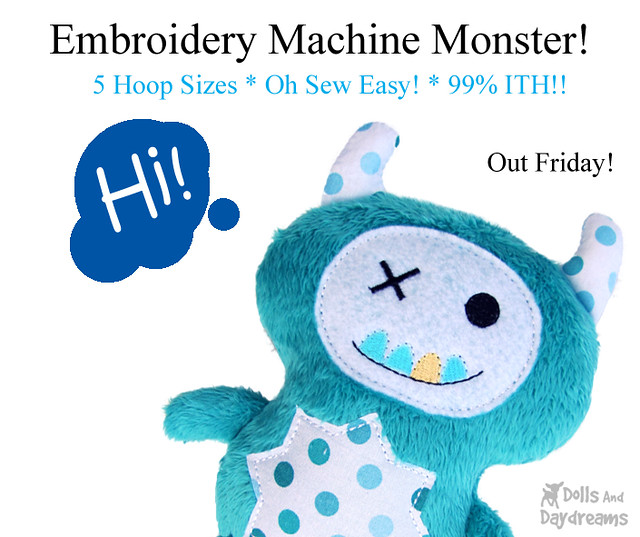 Monster ITH Embroidery Machine Pattern In the Hoop plushie