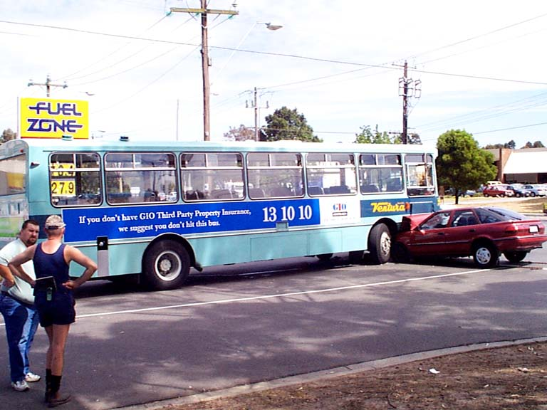 Old pic of an accident, car hit a Ventura bus advertising car insurance. From memory there were no serious injuries, so you can laugh guilt-free.