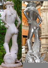 Donatello (c.1386-1466) - David (date disputed) - comparison between marble replica in Temperate House, Royal Botanic Gardens, Kew, Surrey, and plaster cast in Victoria & Albert Museum, London, back left