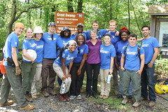 Secretary of the Interior Sally Jewell poses with members of the Student Conservation Association before clearing a refuge wilderness trail.