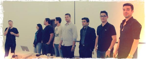 Projeto Transformação Digital: Ao lado dos instrutores Anderson Chipak, Pedro Quintanilha, Rafael Seabra, Paula Quintão, Bruno Novaes, Maicon Rissi e Marcos Eduardo.