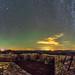 Vía Láctea y airglow sobre el Castillo de Monfragüe