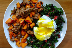 Merguez-Sweet Potato Hash, Poached Egg, Chard