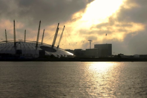 uk morning light colour bird london water architecture clouds sunrise river dawn poplar cloudy earlymorning o2 east arena emirates wires docklands colourful venue beams cablecars thedocklands theo2arena theemiratesairlinecablecar