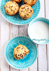 Chocolate and apricot muffins