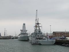 HMS Mersey (P283) and HMS Defender (D36)