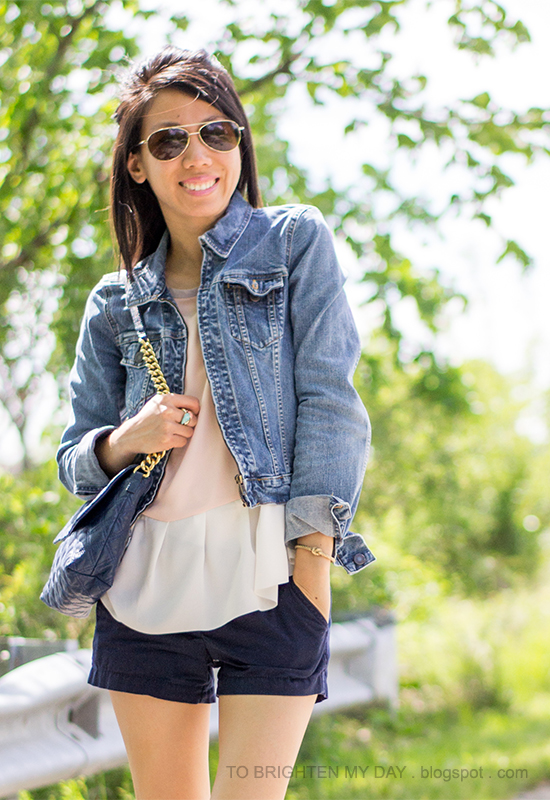 denim jacket, colorblock peplum top, navy shorts, red loafers