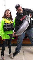 Father-daughter team with a 16-lb. Chinook salmon