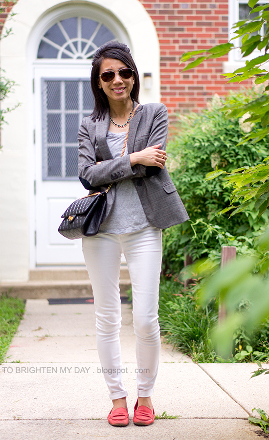 plaid blazer, gray tee, white jeans, red loafers