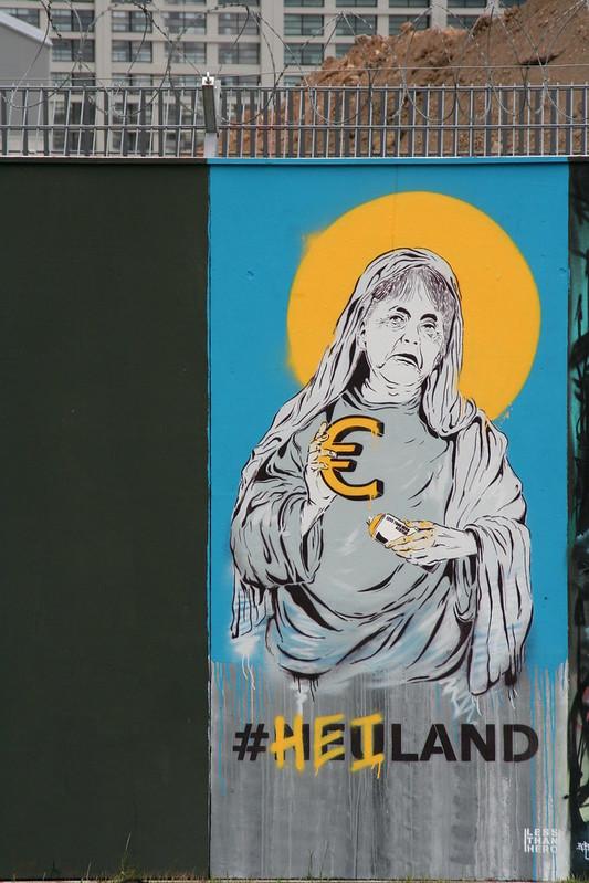 Streetart an der neuen EZB - #Neuland #Heiland