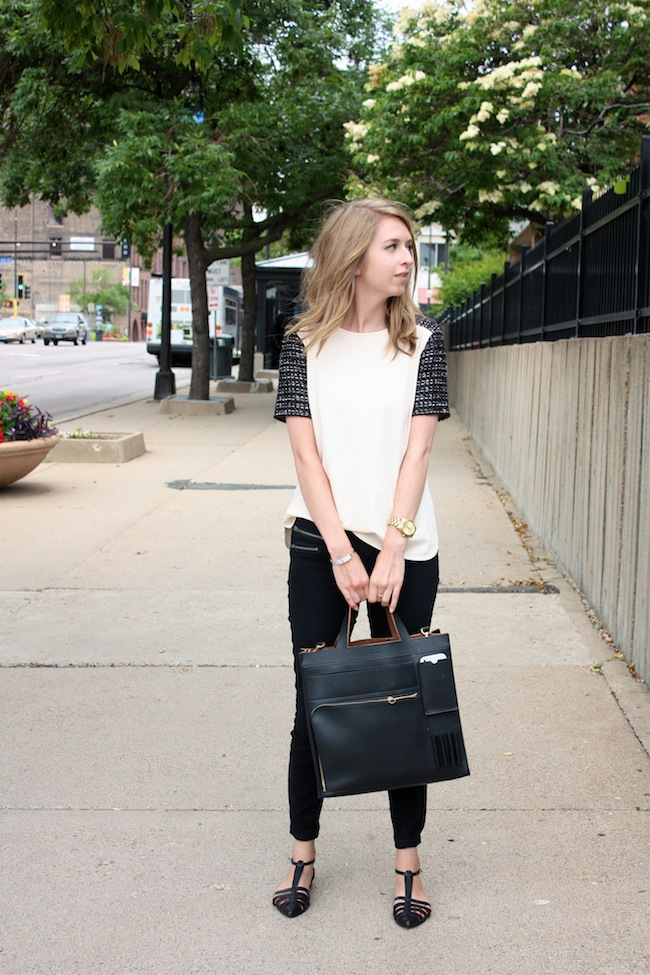 chelsea+lane+zipped+blog+minneapolis+fashion+style+blogger+jcrew+tweed+tee+justfab+signature+skinny+zipper+leona+sandals+kate+spade+saturday+inside+out+tote2