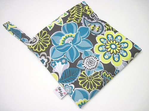 Blue, Gray and Citron Floral Wet/Dry Bag