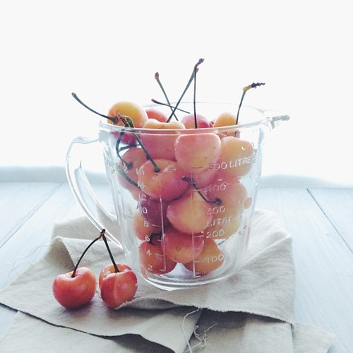I usually avoid off-season imported produce but today I was missing home and hating winter and exorbitantly priced white cherries were the solution. I ate them standing up at the sink while on the phone to my mom and they were brilliant. I'd be lying if I