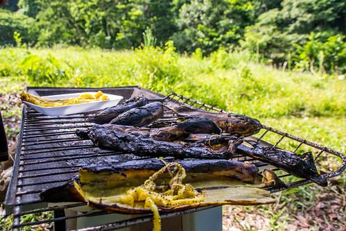fruta asado grilled platanos