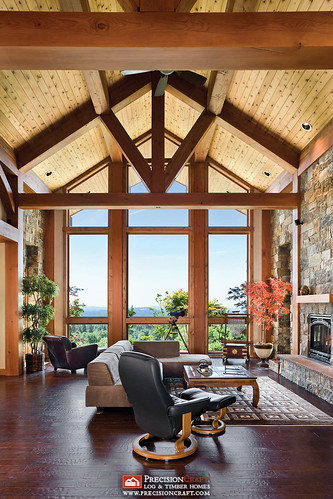 Flickriver photos from precisioncraft log timber homes for Timber frame great room