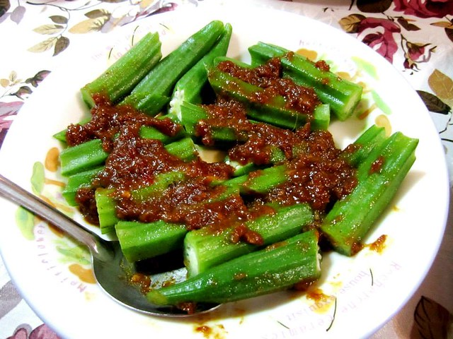 Ladies fingers with sambal