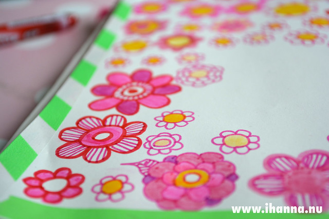 Diary Doodle: Washi tape and pink flowers by iHanna of www.ihanna.nu