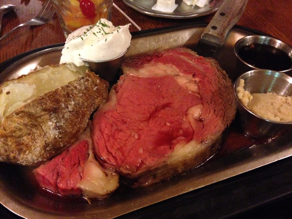 Rare Prime Rib Baked Potato Diner Nicky's Steakhouse Estes Park Colorado Chinese Daughters reunion