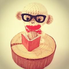 Amigurumi Sock Monkey♡ He is reading a book.  #あみぐるみ #ソックモンキー #ハンドメイド #amigurumi #sockmonkey #handmade #etsy