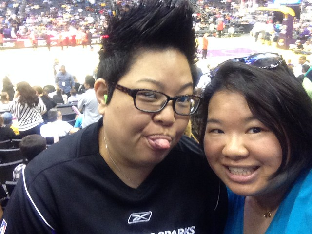 PIC: Today we are I & L's stunt doubles at the @LA_Sparks game. Thx for the tix!