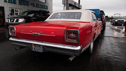 '67 Ford XL convertible at gas stop in Glennallen, AK