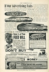 Maher & Grosh knives, National Feed Slow Feeder, Cornease Cures Corns, The Columbus Carriage Mfg Co, THe Clauss Shear Co 1896
