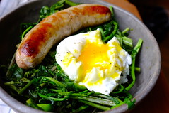 Sautéed Mustard Greens with Poached Egg and Bratw…