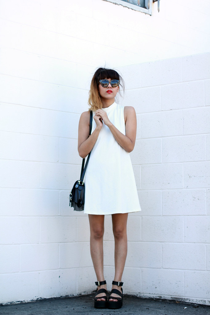BKRM Backfroom Dress, Windsor Smith Puffy Sandals, Lazy Oaf shorts, Karen Walker Anytime Sunglasses