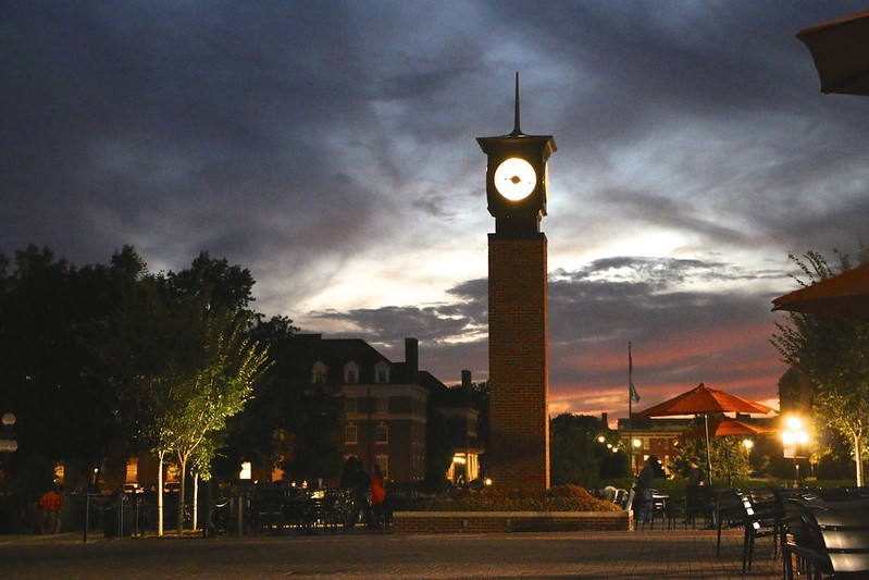 Sunset at Oklahoma State University's Chi-O Clock