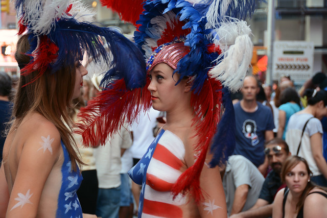 Women In Times Square In Nyc Wearing Only Body Paint -6536