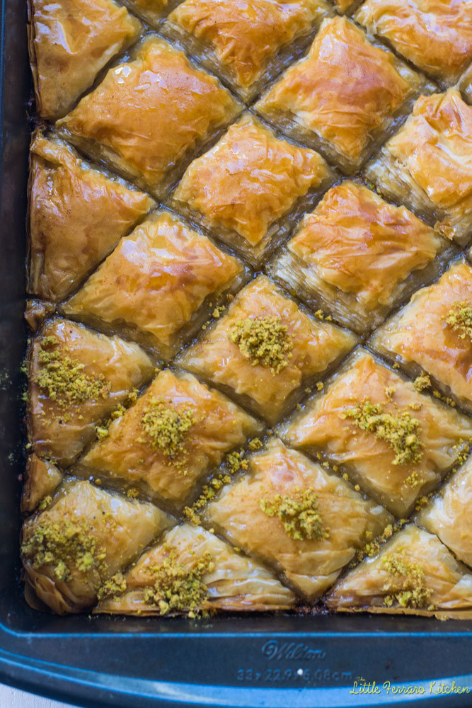 Pistachio Baklava with Orange Blossom Simple Syrup via LittleFerraroKitchen.com