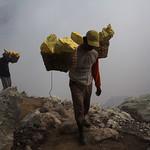 Sulfur miners in Kawah Ijen