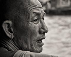 Monk on the Chao Praya Riverboat, Bangkok