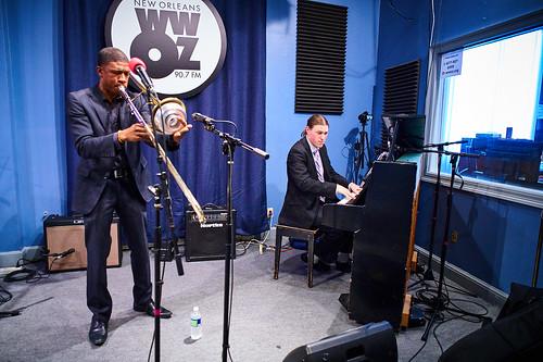 David Harris and Daniel Meinecke of the David Harris Quartet at WWOZ. Photo by Eli Mergel