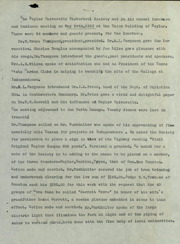 Baylor Historical Society meeting minutes excerpt, 1953