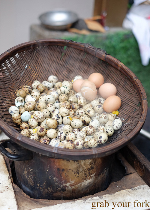 Quail eggs on a street cart in the Central district, Hong Kong