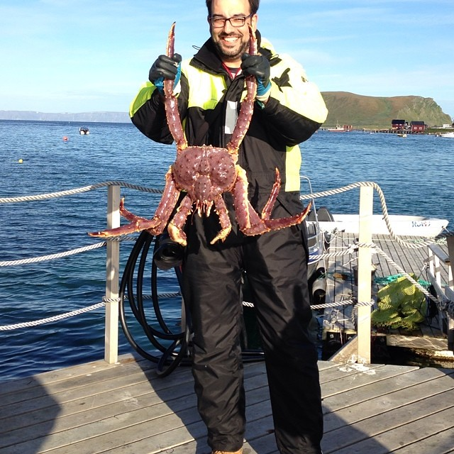 El king crab y yo. Yo soy el de gafas, just in case :))) #laponianoruega