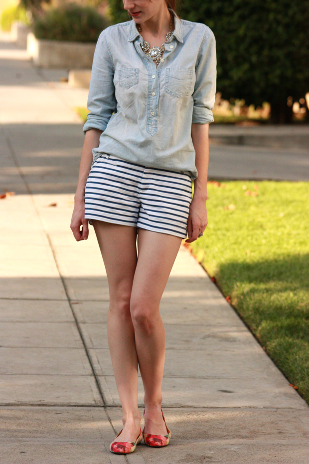 Striped Shorts, Floral Flats